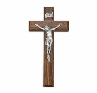 "10"" Walnut Cross, 4 3/8"" Antique Finish Pewter Corpus"
