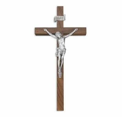 "10"" Genuine Walnut Cross, 4 3/8"" Antique Finish Pewter Corpus"
