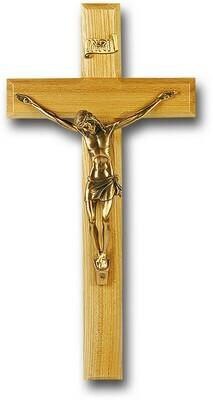 "12"" Genuine Oak Cross with Museum Gold Antiqued Corpus"