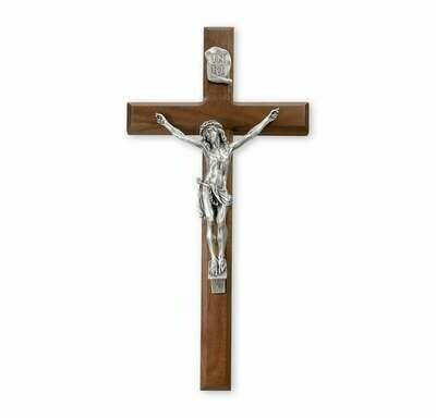 "15"" Genuine Walnut Cross with Museum Pewter Antiqued Corpus"