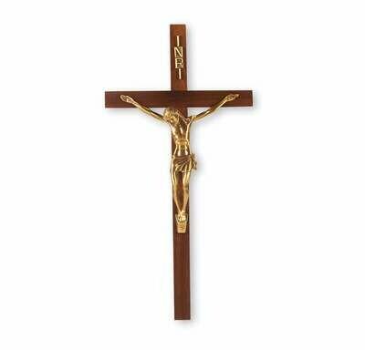 "13"" Genuine Walnut Crucifix with Museum Gold Corpus"