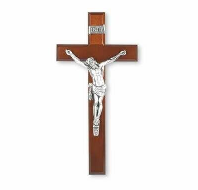 "12"" Dark Cherry Crucifix with Antiqued Pewter Corpus"