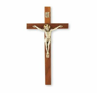 """9"""" Genuine Walnut Cross with Antiqued Silver-Plated Corpus"""