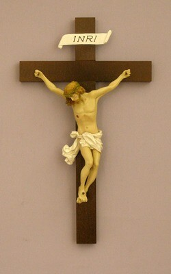Crucifix, Baroque Style, Hand-Painted Alabaster Corpus- 14