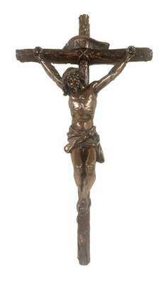 """16"""" Crucifix, Lightly Hand-Painted, Cold Cast Bronze"""
