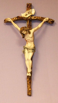 Crucifix in hand-painted alabaster corpus and cross, 11.5