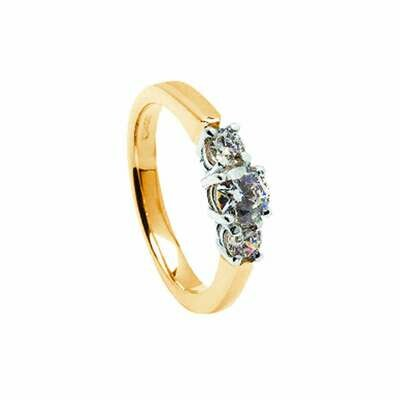 14kt Gold 3 Stone Diamond 2x.25cts+1x.50cts Engagement Ring