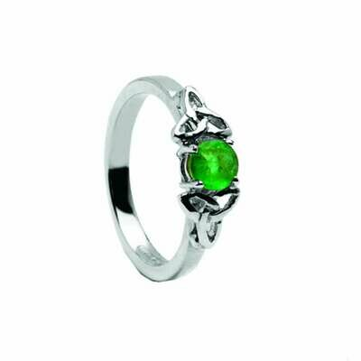 14kt Gold Emerald Trinity Engagement Ring- All White