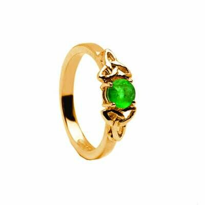 14kt Gold Real Emerald Trinity Engagement Ring- All Yellow