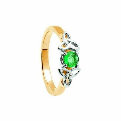 14kt Gold Emerald Trinity Engagement Ring- Yellow/White Trinity