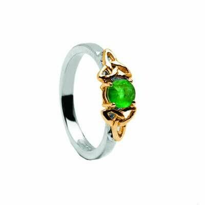 14kt Gold Emerald Trinity Engagement Ring- White/Yellow Trinity