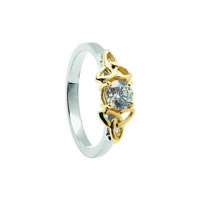 14kt Gold Diamond Trinity Engagement Ring- White/Yellow