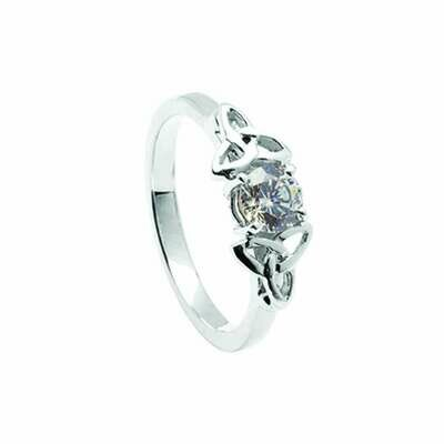 14kt Gold Diamond Trinity Engagement Ring- All White