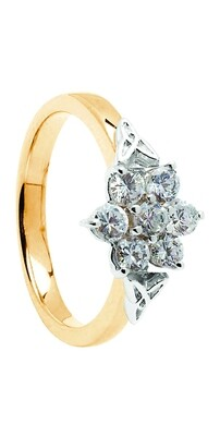 14kt Gold .86cts Cluster Diamond Engagement Ring