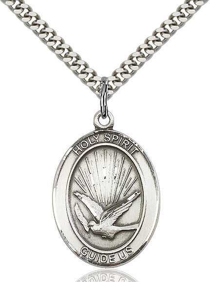 Sterling Silver Holy Spirit Pendant on a 24