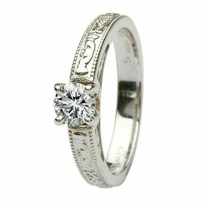 Claddagh Celtic Diamond Ring- 14kt White Gold Ring, Solitaire Round Cut Diamond