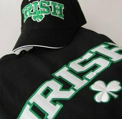 Irish Shamrock Embrodiered Black Hooded Sweatshirt