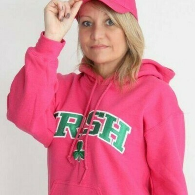 Irish Shamrock Embrodiered Pink Hooded Sweatshirt