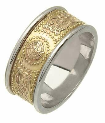 Ladies 14kt Gold Medium Two Tone An Ri Wedding Band (White Edge)