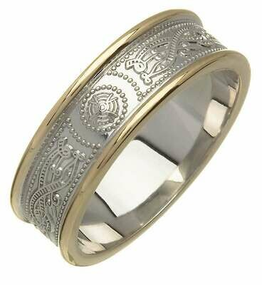 Ladies 14kt Gold Narrow Two Tone An Ri Wedding Band (Gold Trim)