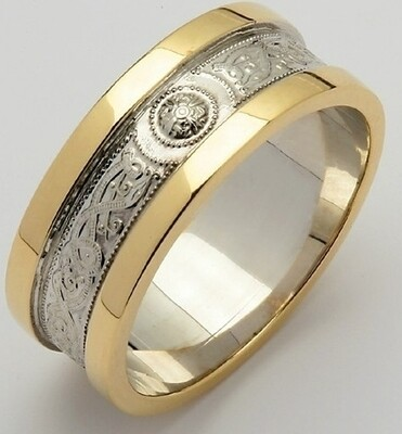 Mens 14kt Gold White Narrow An Ri with Yellow Wide Sides