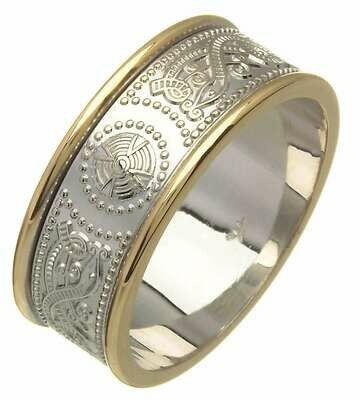 Ladies 14kt Gold Medium Two Tone An Ri Wedding Band (Gold Edge)