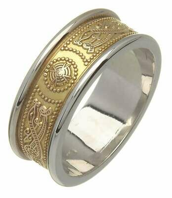 Mens 14kt Gold Narrow Two Tone An Ri Wedding Band (White Trim)