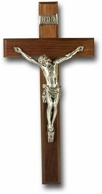 "12"" Genuine Walnut Cross with Antiqued Pewter Fine Corpus"