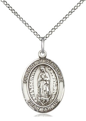 Sterling Silver Our Lady of Guadalupe Pendant on an 18
