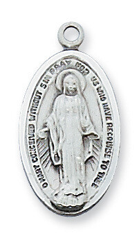 Sterling Silver Oval Elongated Miraculous Medal on a 18