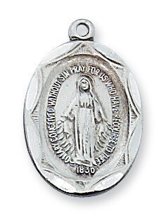 Sterling Silver Miraculous Medal on a 18