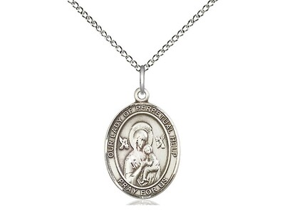 Sterling Silver Our Lady of Perpetual Help Pendant on an 18