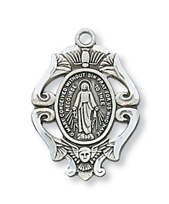Sterling Silver Ornate Design Miraculous Medal on a 18