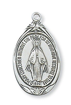 Sterling Silver Oval Medium Miraculous Medal on a 18