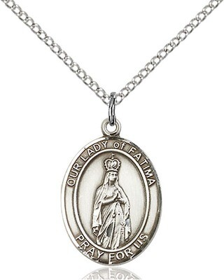 Sterling Silver Our Lady of Fatima Pendant on a 18