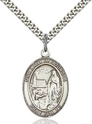 Sterling Silver Our Lady of Lourdes Pendant on a 24