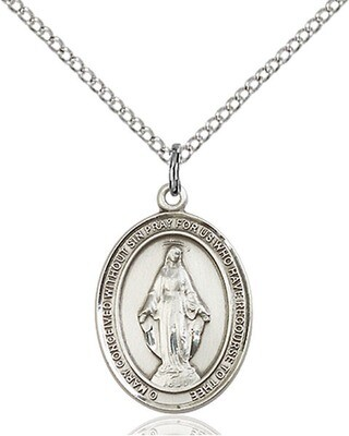 Sterling Silver Miraculous Medal Pendant on a 18