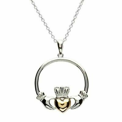 Sterling Silver Claddagh Gold Plate Heart Pendant & 18