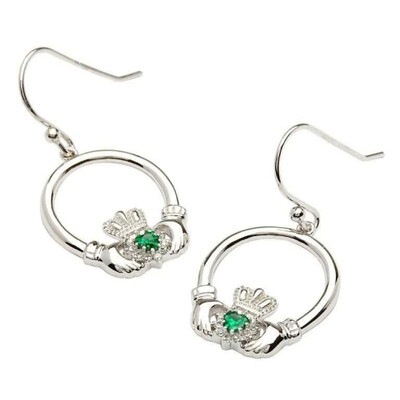 Sterling Silver Claddagh Stone Set Green CZ Earrings