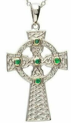 Sterling Silver Emerald Set Celtic Knot Design with Gold Plate Detail Celtic Cross & Chain