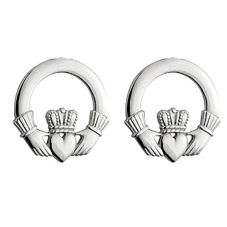 Sterling Silver Traditional Claddagh Stud Earrings