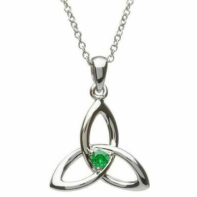 """Sterling Silver Green CZ Trinity Pendant & 18"""" Sterling Silver Chain"""