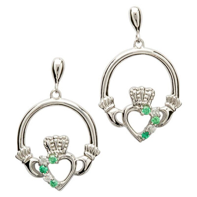Sterling Silver Claddagh Part Set Earrings