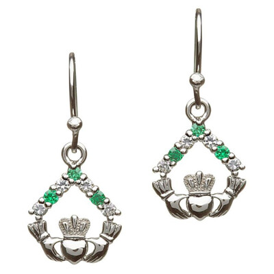 Sterling Silver Claddagh Stone Set Dangle Earrings