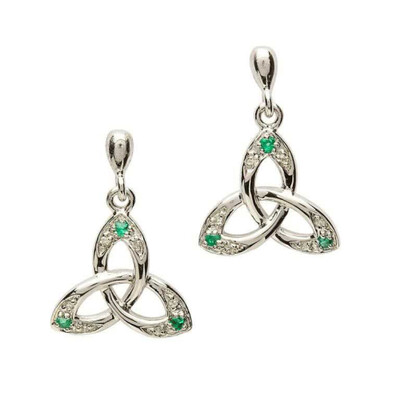 Sterling Silver Celtic Trinity Knot Earring Set with Emerald and Diamond