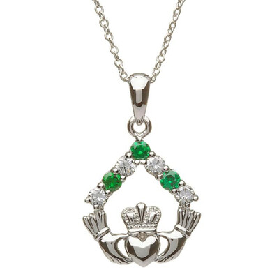 Sterling Silver Claddagh Stone Set Green CZ and CZ Pendant & 18