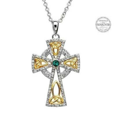 Trinity Gold Plated Cross Embellished with Swarovski® Crystals & Chain