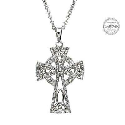 Celtic Trinity Cross Embellished with Swarovski® Crystals & Chain