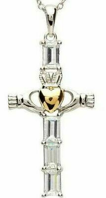 Sterling Silver Claddagh CZ Cross with Gold Plate Heart & Chain