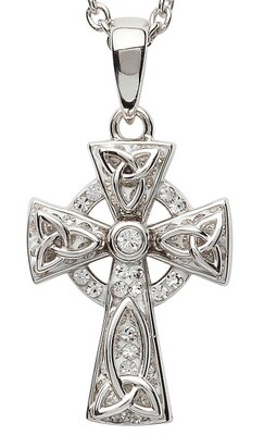 Sterling Silver Celtic Trinity Knot Cross Embellished With Swarovski® Crystals & Chain